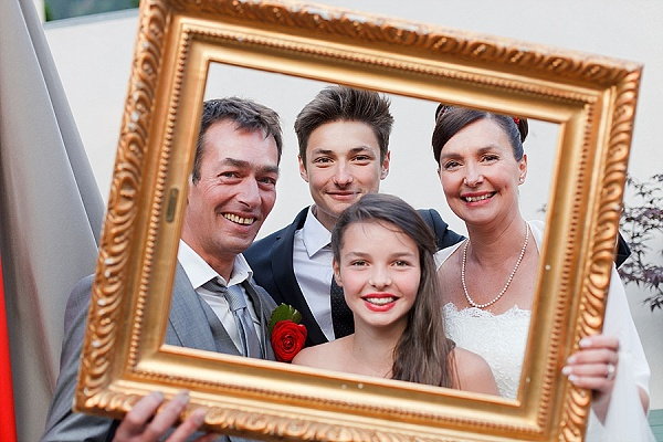 Funny wedding photo booth with picture frames